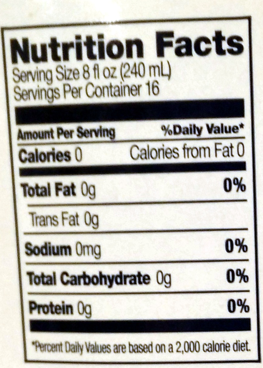 Spring Water - Nutrition facts - en