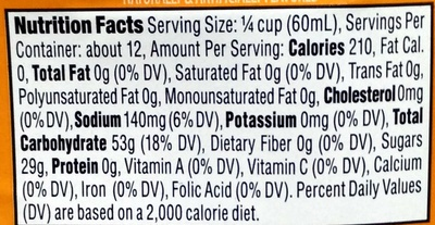 Butter Flavored Syrup - Nutrition facts