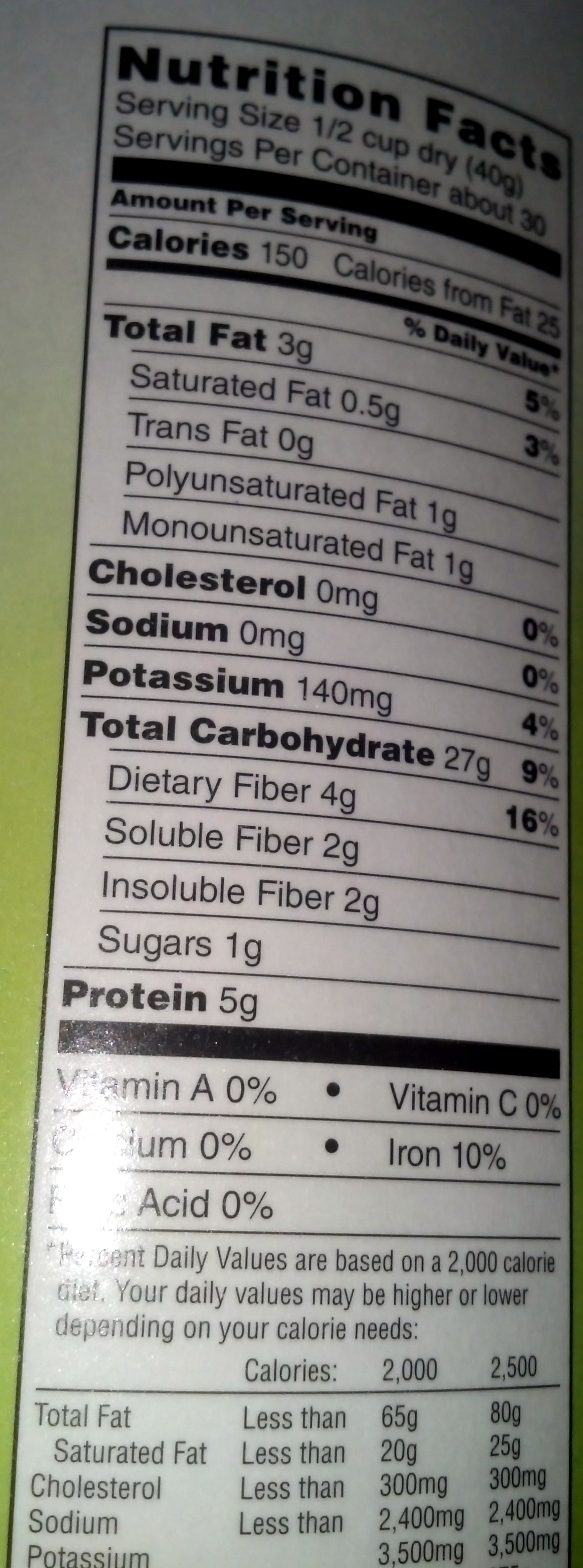 100% whole grain old fashioned oats - Informations nutritionnelles - en