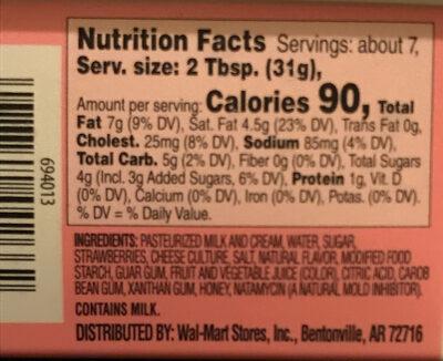 Great value, cream cheese spread, strawberry - Ingredients - en