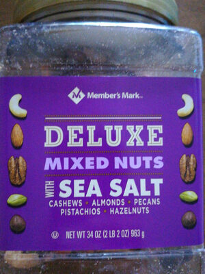 Cashews, almonds, pecans, pistachios, hazelnuts deluxe mixed nuts with sea salt, sea salt - Product - en