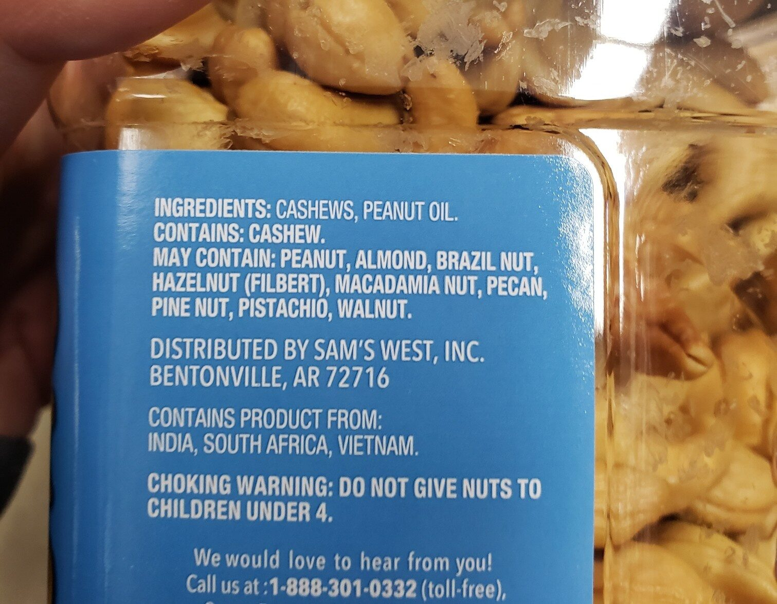Unsalted whole cashews - Ingredients - en