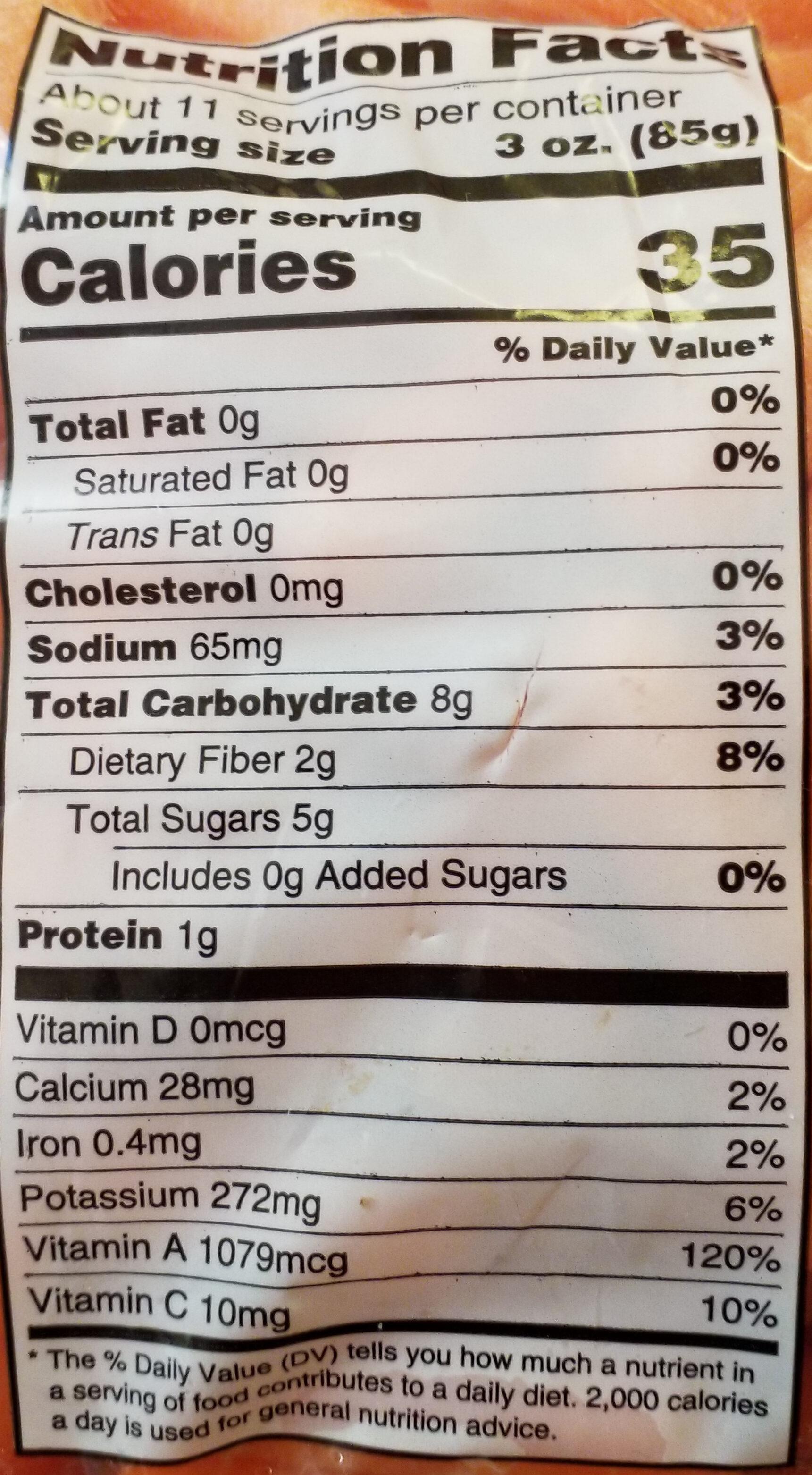 Organic Baby Carrots - Nutrition facts - en