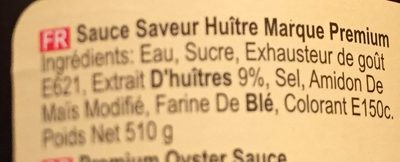 Premium Oyster Sauce - Ingrédients - fr