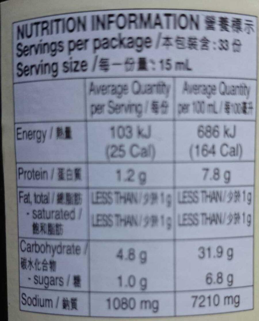 Premium Dark Soy Sauce - Nutrition facts