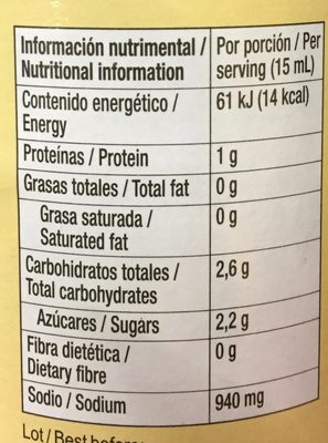 Soy Sauce - Información nutricional - es