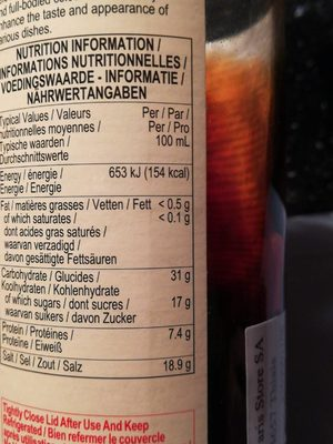 Mushroom Flavoured Soy Sauce - Informations nutritionnelles