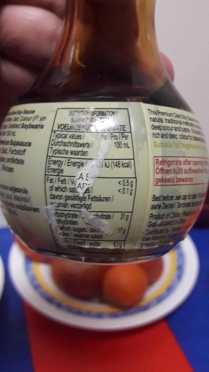 Dunkle Sojasauce, Natürlich Gebraut - LKK - 150ML - Informations nutritionnelles - fr