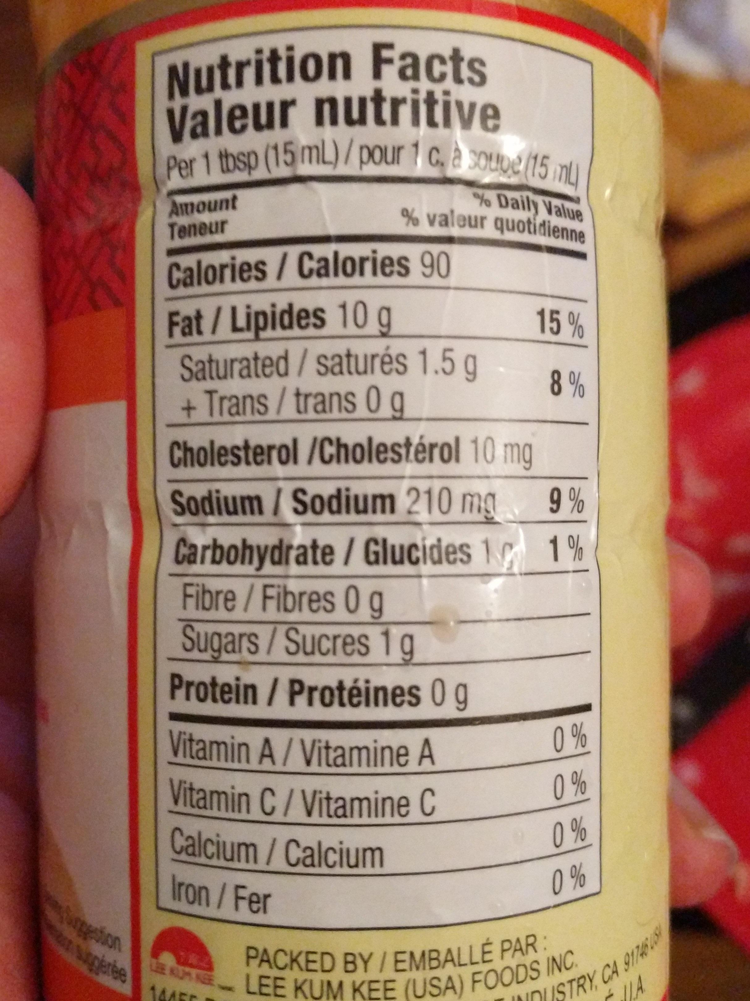 Mayonnaise à la sauce sriracha - Nutrition facts