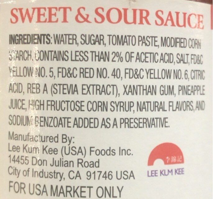 Sauce - Nutrition facts - en
