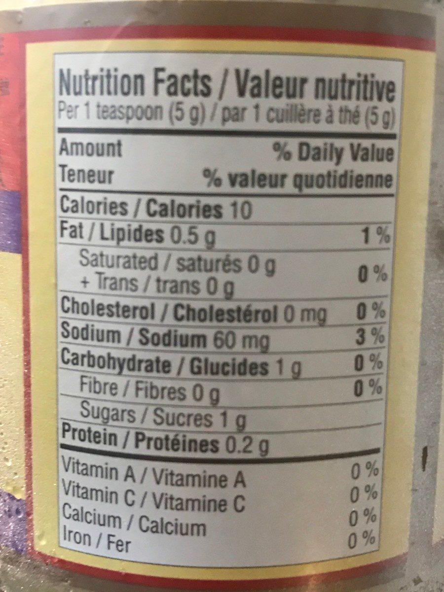 蒜蓉 - Informations nutritionnelles