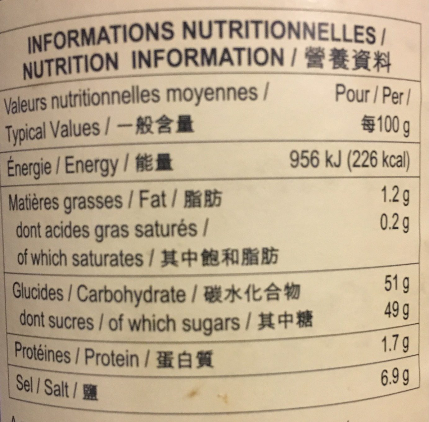 Hoisin Sauce - Nutrition facts