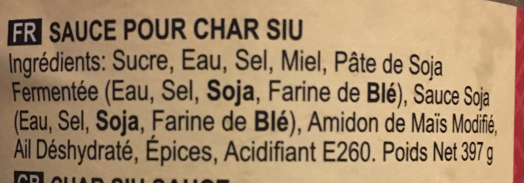 Sauce Char Siu - Ingredients