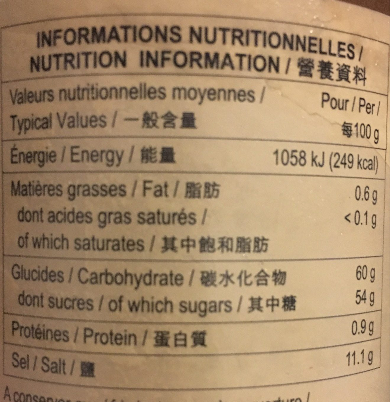 Sauce Char Siu - Nutrition facts