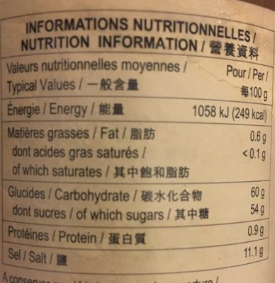 Lee kum kee, chinese barbecue sauce - Informations nutritionnelles - fr