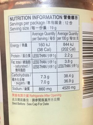 Lee kum kee, spare rib sauce - Nutrition facts - en