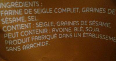 Ryvita, Pain Croustillant Seigle Au Sésame 250g - Ingredients - fr