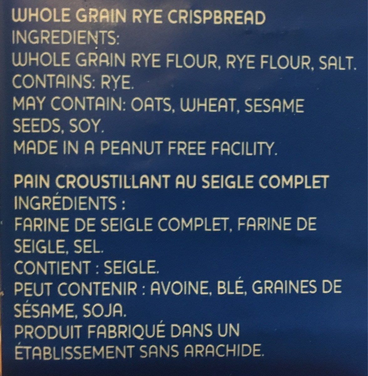 Light rye - Ingredients - fr