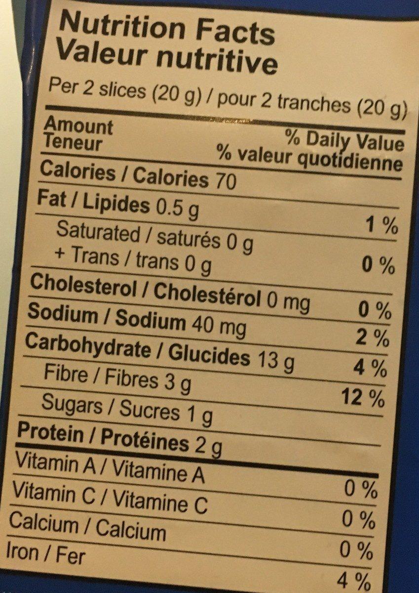 Light rye - Nutrition facts - fr