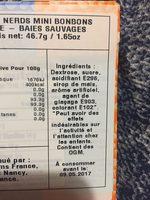Nerds - Ingrédients - fr
