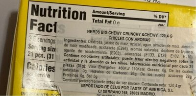 Nerds orange - Nutrition facts - en