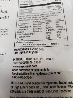 Wild pacific cod loins - Ingrediënten - en