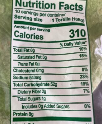 Spinach wraps - Nutrition facts - en