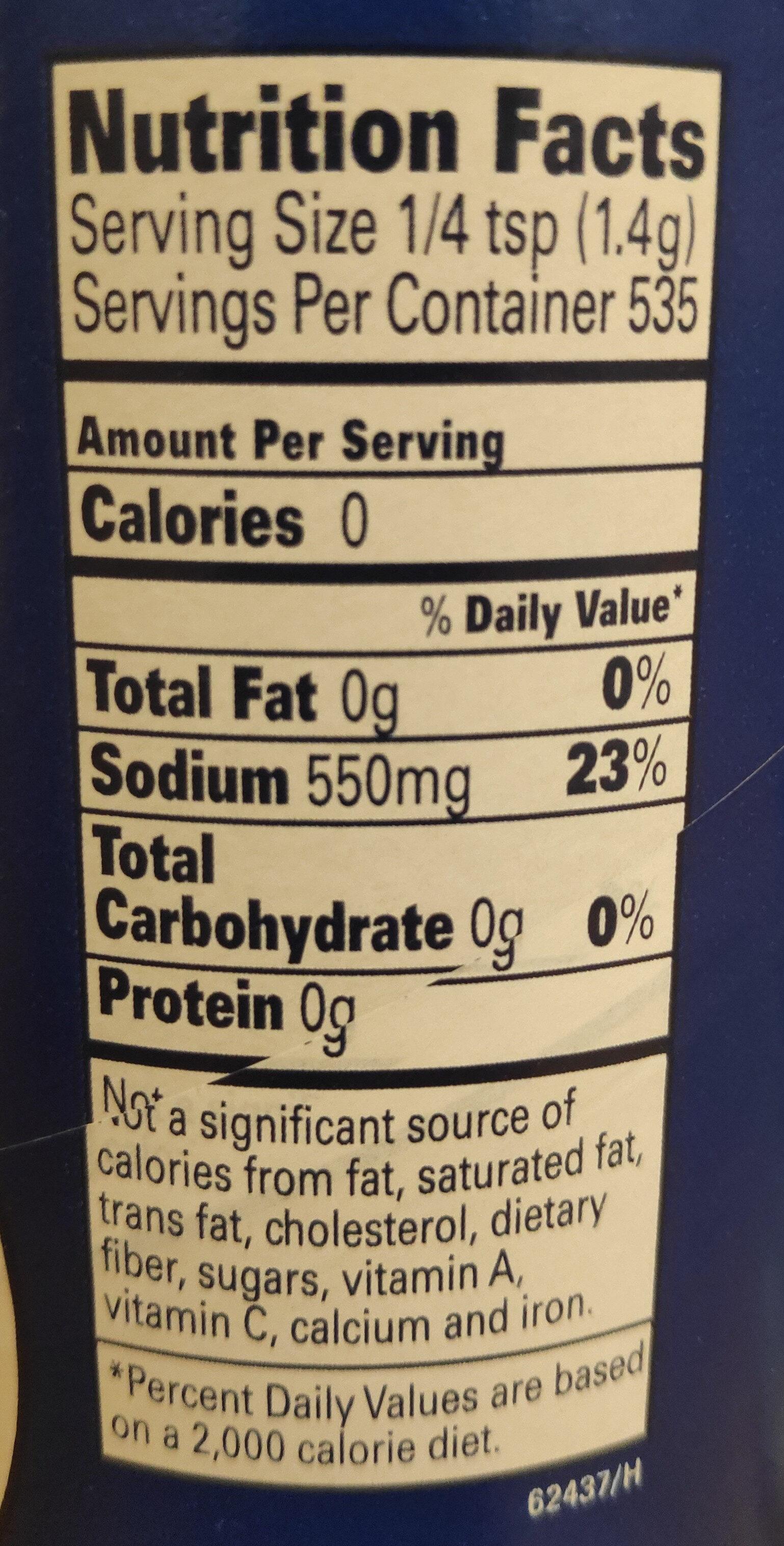 Sea salt fine crystals canister - Nutrition facts - en