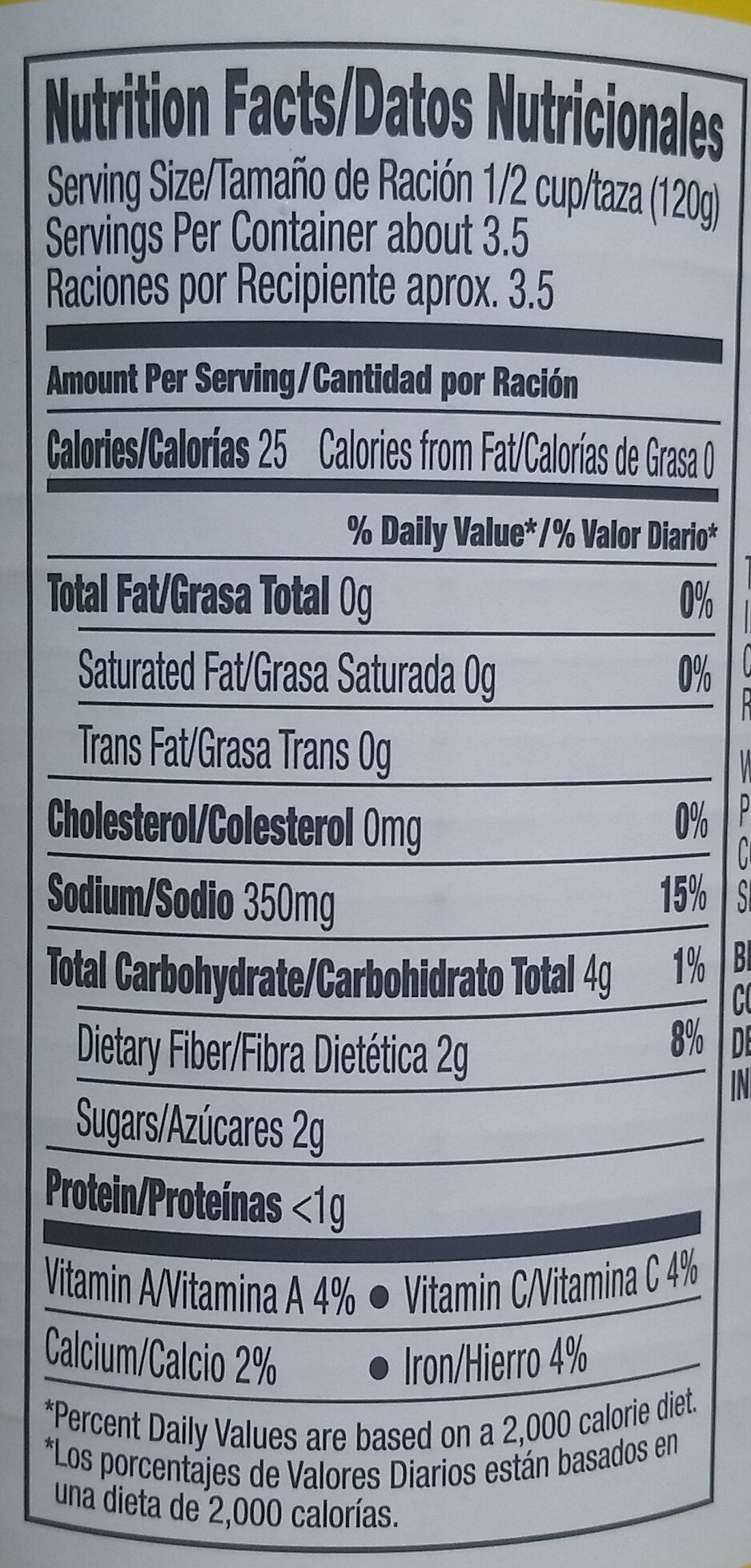 Short Cut Green Beans - Nutrition facts