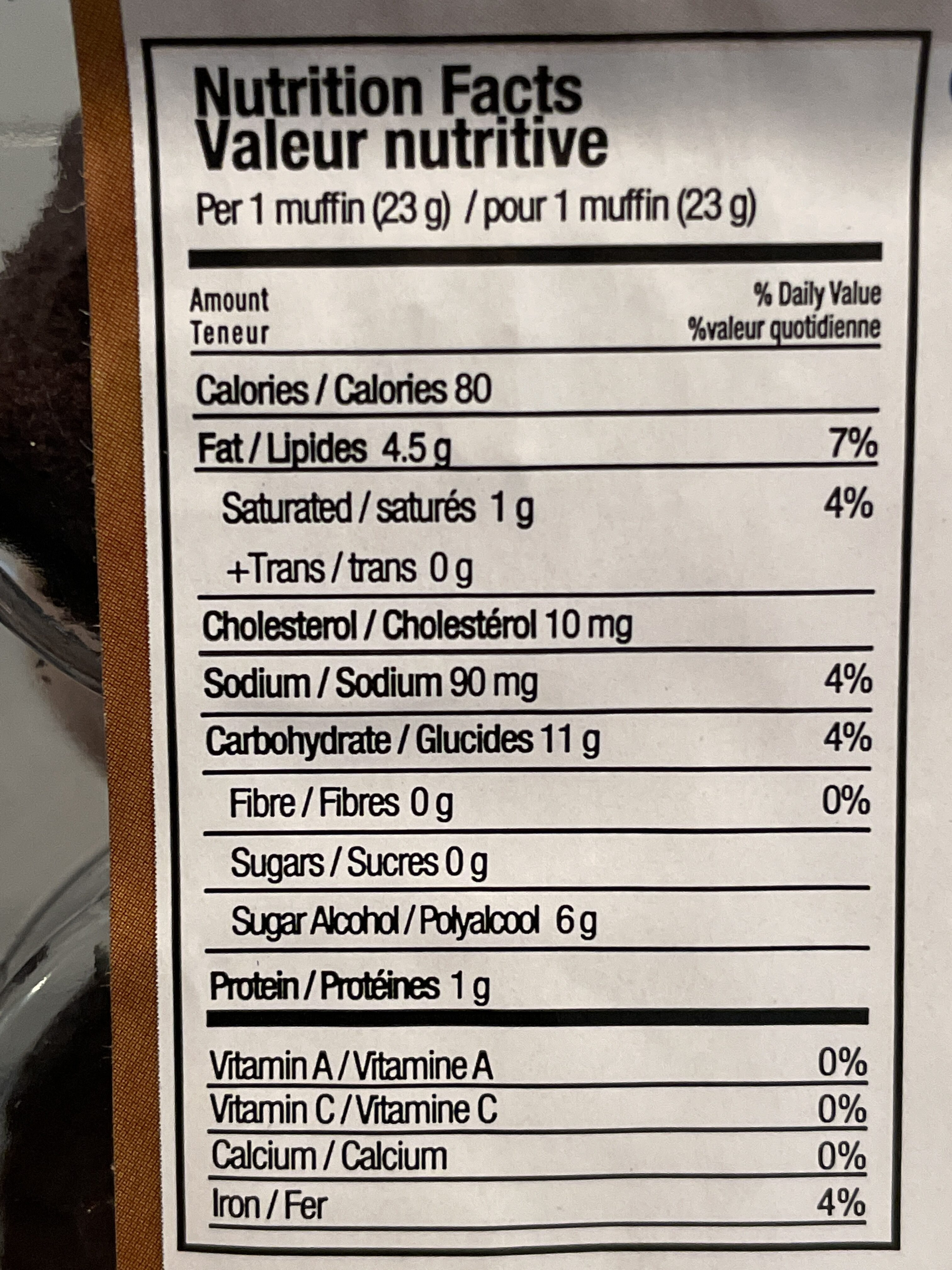 Chocolate Mini-Muffins - Nutrition facts - en