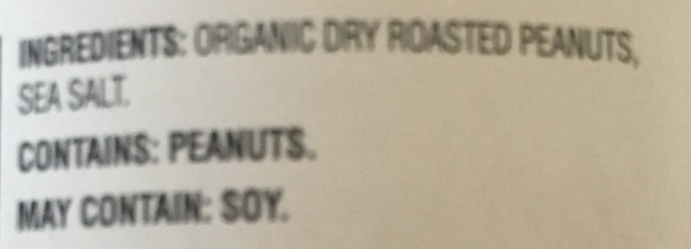 Old Fashioned Organic Peanut Butter - Ingredients