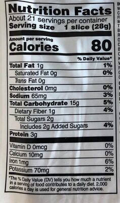 21 grains & seeds thin sliced organic bread, 21 grains & seeds - Nutrition facts