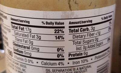 Organic tahini - Nutrition facts - en