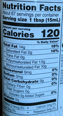 Organic extra virgin olive oil - Nutrition facts - en