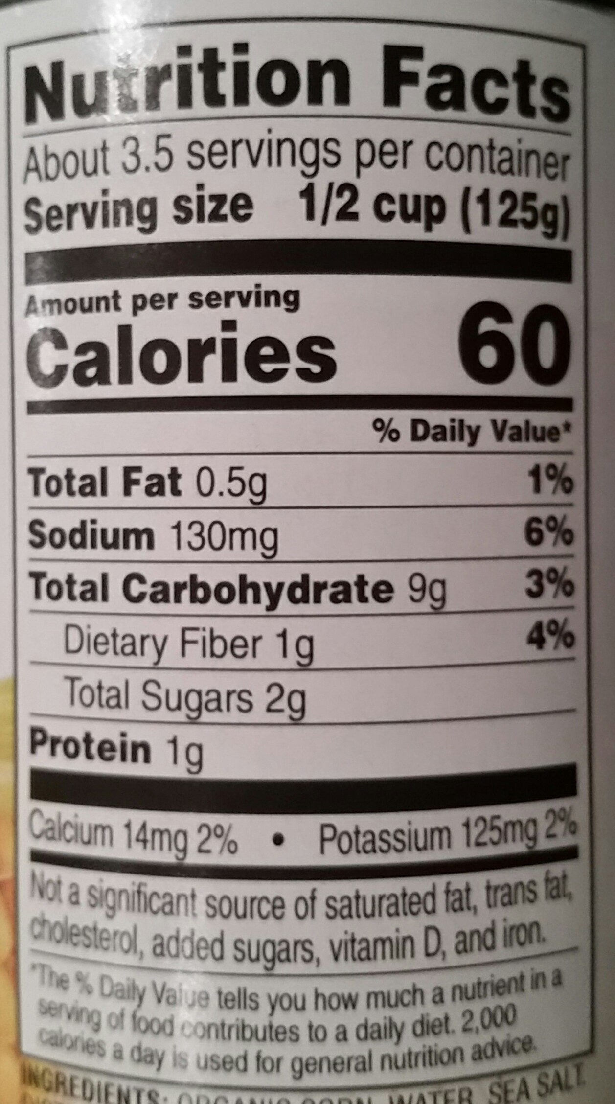 Organic Whole Kernel Corn - Nutrition facts