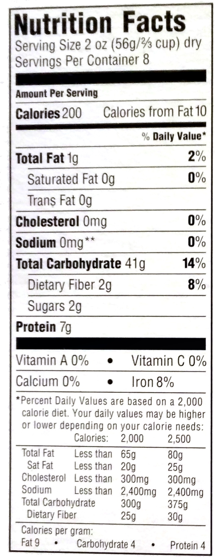 Organic Rotini - Nutrition facts