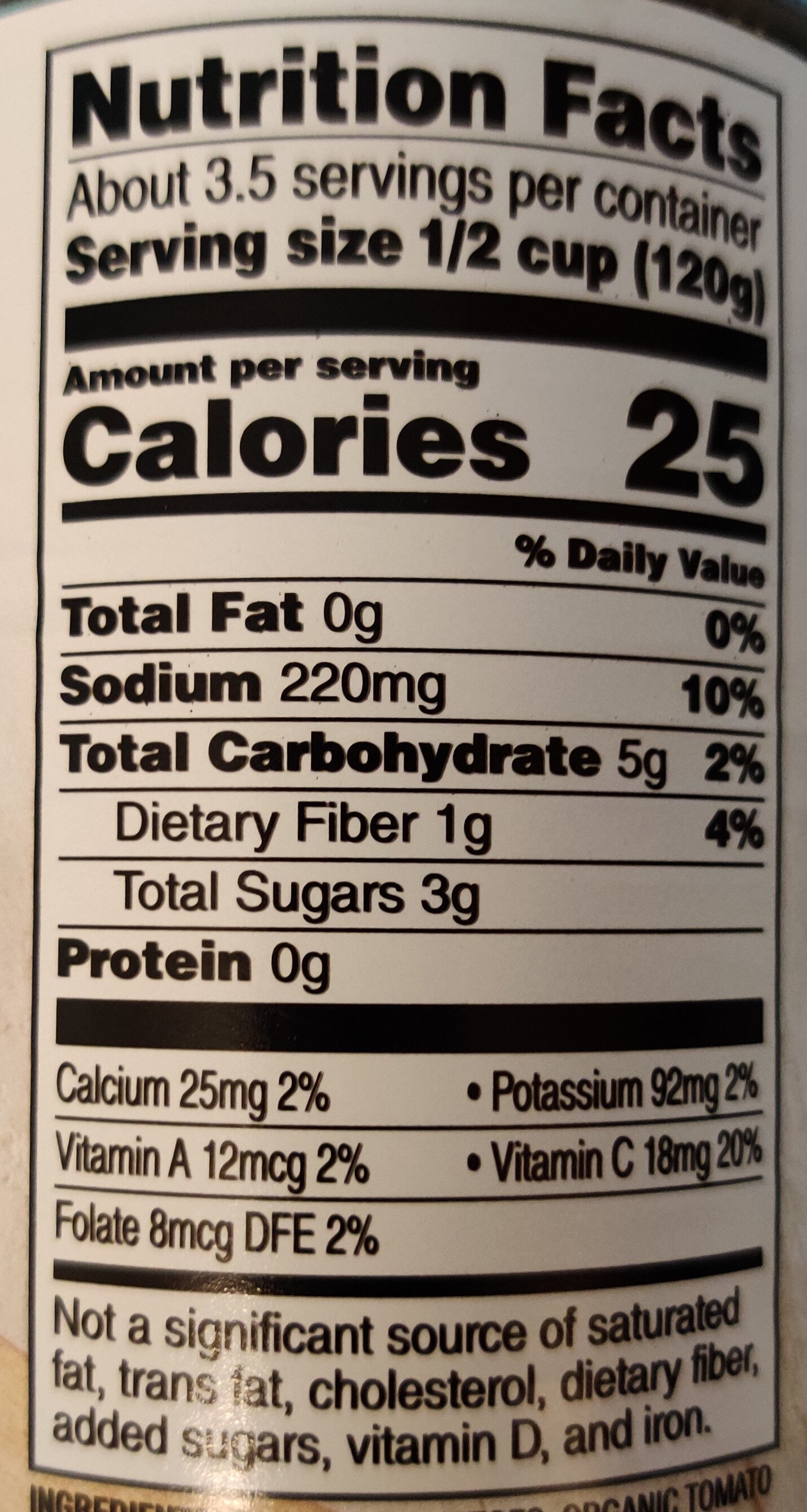 Organic Petite Diced Tomatoes - Nutrition facts