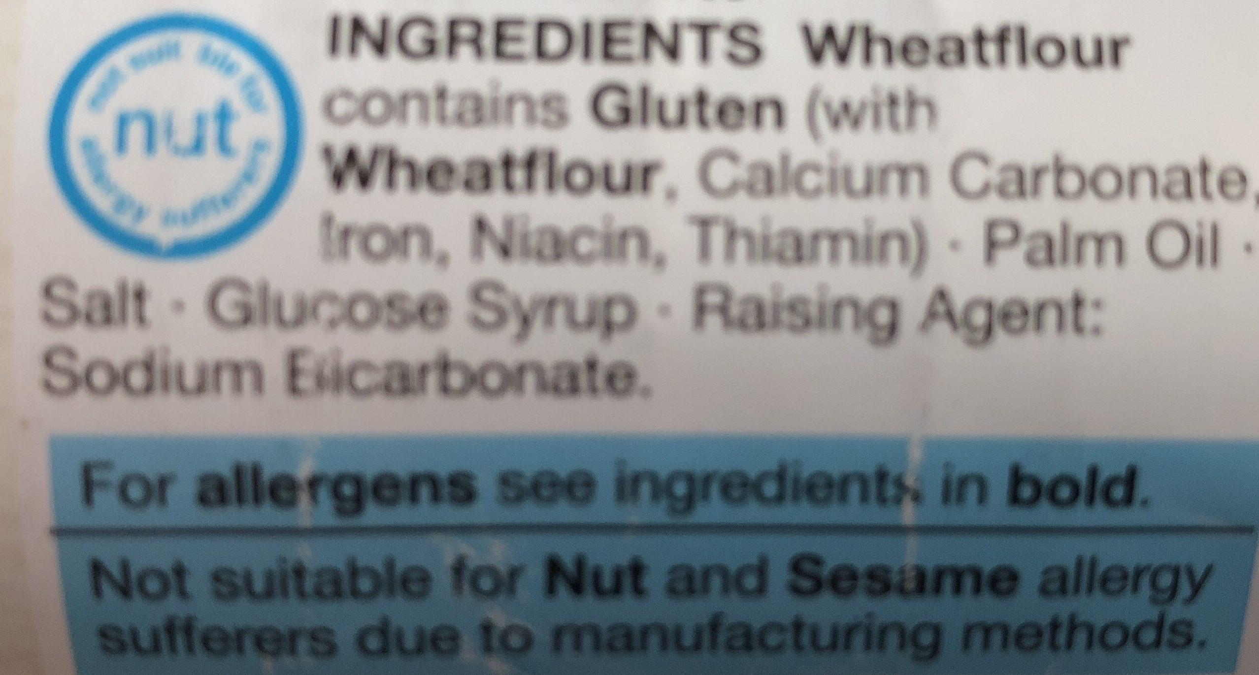 High bake water biscuits - Ingrédients - fr