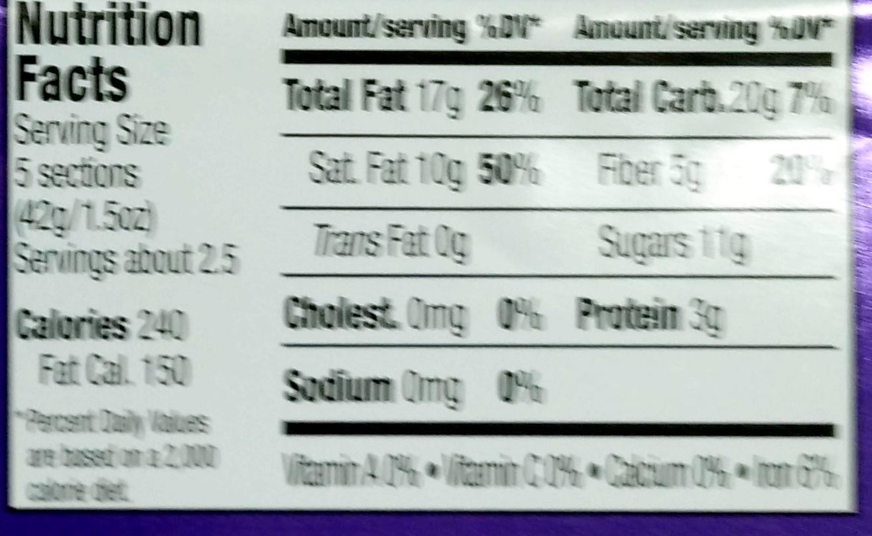 Dark Chocolate 73% cacao super dark - Nutrition facts