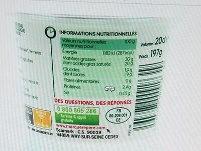 crème fraîche épaisse - Nutrition facts