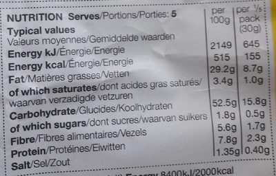 Mature Cheddar & Red Onion Hand Cooked Crisps - Nutrition facts