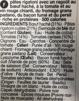 Beef & chianti ragu - Ingrédients - fr