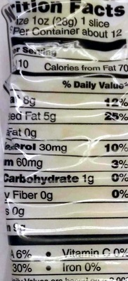 Swiss Cheese - Nutrition facts