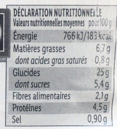 Taboulé a l'orientale - Informations nutritionnelles - fr