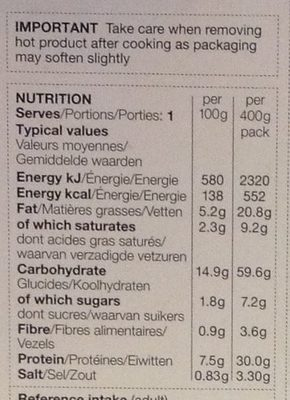 Ham & Mushroom Tagliatelle - Voedingswaarden - fr