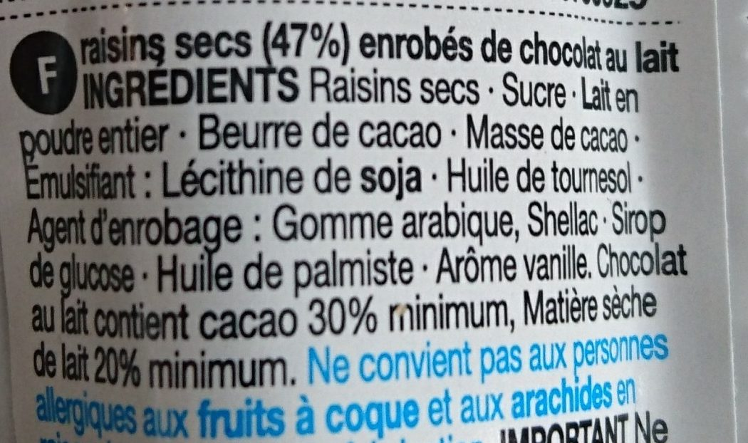 Belgian Milk Chocolate Coated Raisins - Ingredients - fr