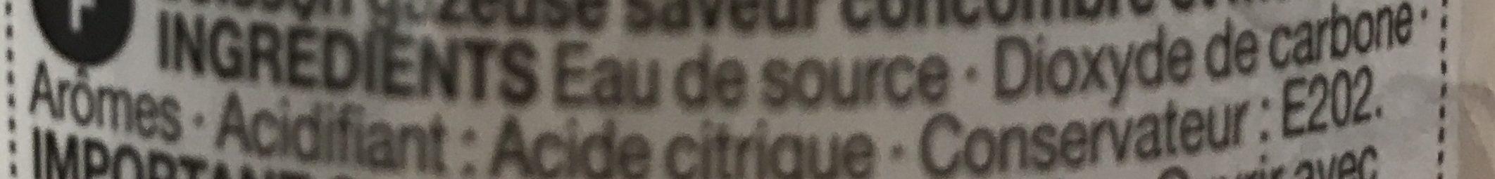 Eau gazeuse concombre menthe - Ingrédients - fr