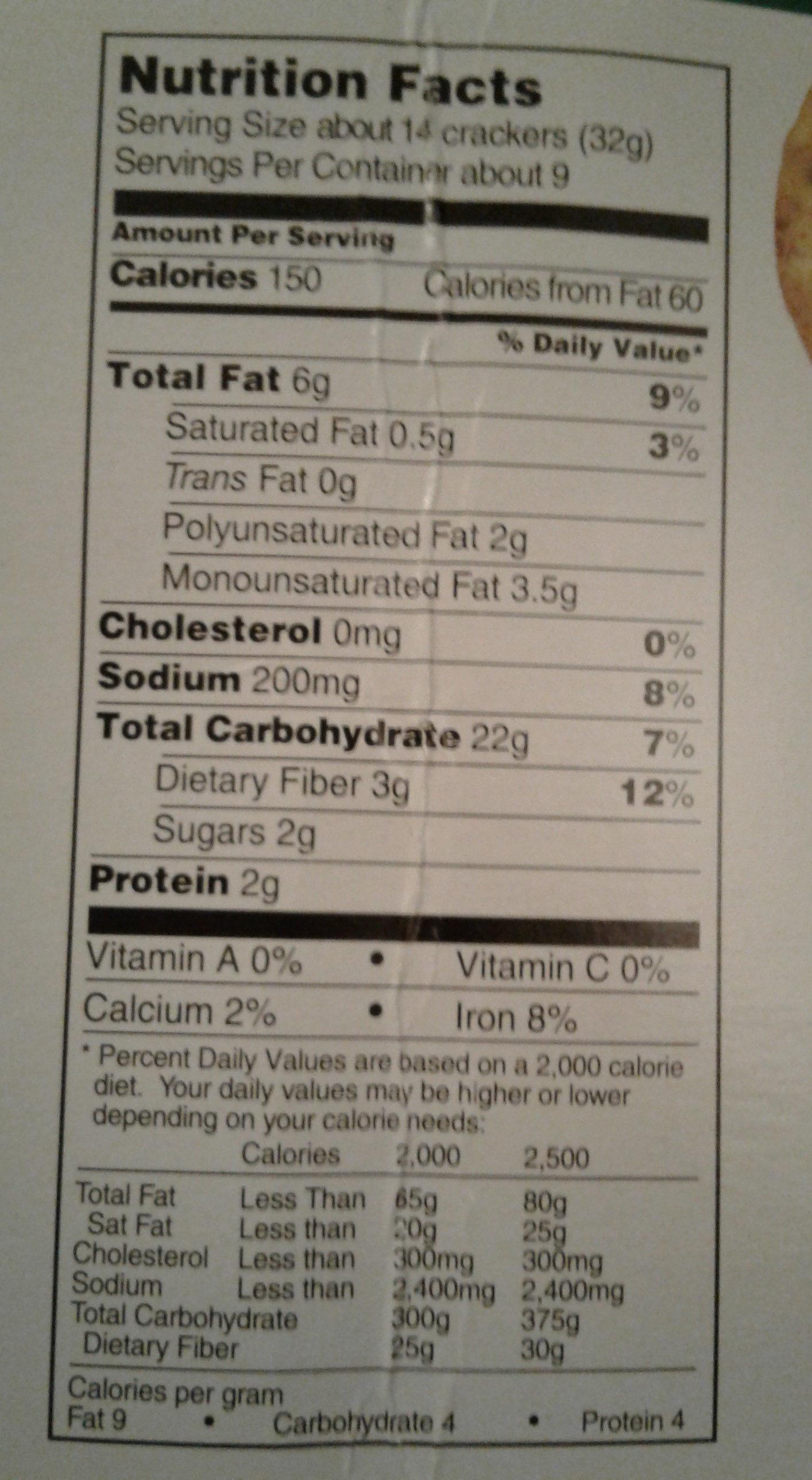 Multigrain Crackers - Nutrition facts - en