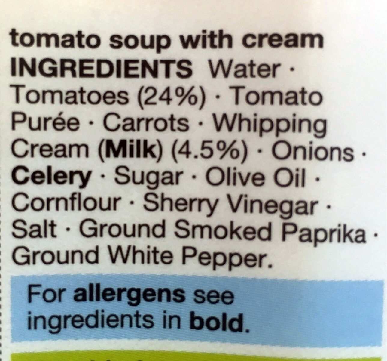 Cream Of Tomato Soup - Ingredients