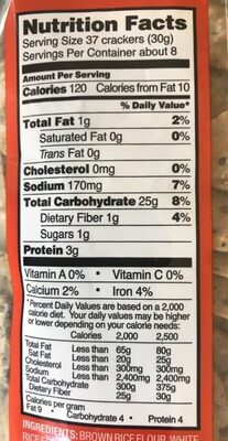 Trader Joe's savory thin mini rice crackers - Nutrition facts - en